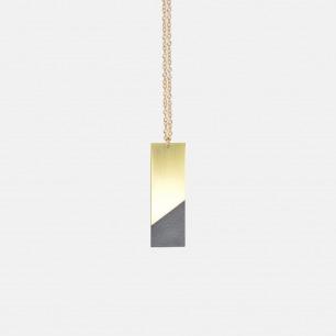 竖条长方形双材质拼色项链 黑色