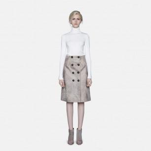 原创轻奢时装独立设计师 卡其色复古PU半裙