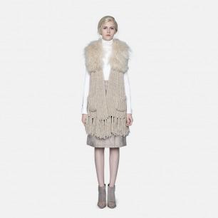 原创轻奢时装独立设计师 米色滩羊毛针织披肩