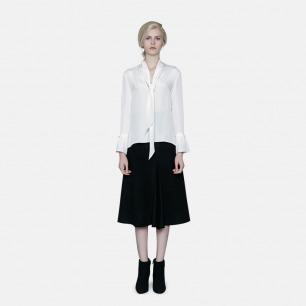 原创轻奢时装独立设计师 前系带真丝衬衫