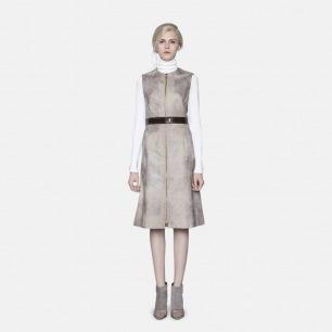 卡其色复古PU连衣裙 | 轻奢时装设计师原创打造