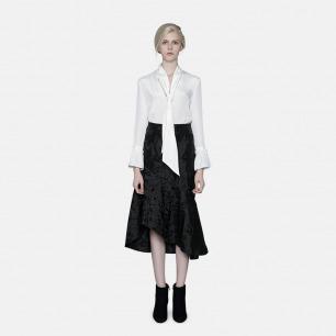 原创轻奢时装独立设计师 黑色不规则下摆半裙