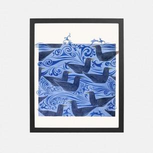 最美图案装饰画 海鸥图案的纺织品的设计 (15个工作日内发货)