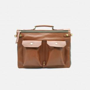 BK Briefcase 牛皮毛呢公文包