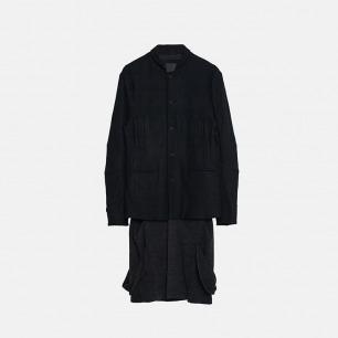 Rline 羊毛拼接下摆西服外套