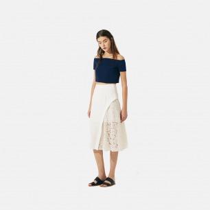 高腰白色拼蕾丝半裙
