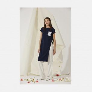 白色明线休闲长裤