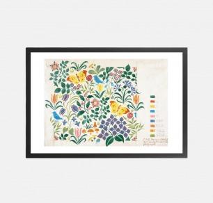 非写实的花卉、蝴蝶和鸟类图案的纺织品设计 装饰画(定制品15个工作日内发货)