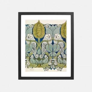 描绘了猫头鹰与它们的巢的墙纸设计 装饰画(定制品15个工作日内发货)