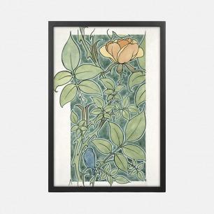 描绘一朵玫瑰和一只小蓝鸟的设计 装饰画(定制品15个工作日内发货)