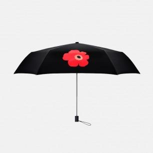 超轻便携 红色莺粟花图案晴雨两用女士黑胶伞