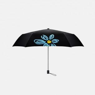 雏菊超轻两用女士黑胶伞(蓝色花朵)