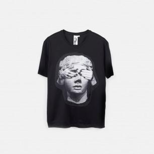 蒙上眼睛的雕塑 男士纯棉精梳双丝光T恤【黑色/灰色】