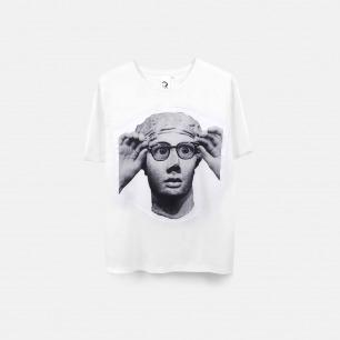 戴上眼镜的雕塑 男士纯棉精梳双丝光T恤 白色