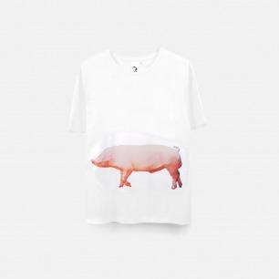 猪 swine 纯棉精梳双丝光T恤(白)