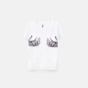 丢勒之手的镜像 女士纯棉精梳双丝光T恤 白色