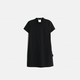 黑色简约搭扣立领连衣裙