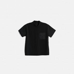 黑色简约插肩拼接立领T恤