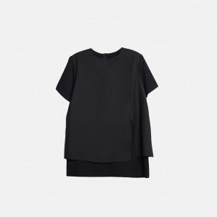 简约假两件双层短袖女装T恤