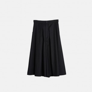 黑色简约压折阔腿休闲长裤