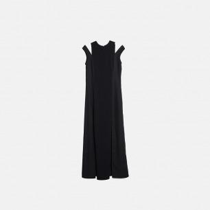 黑色落肩高开叉拼接连衣长裙