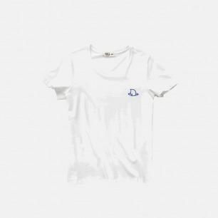 吃茶去女款全棉白色T恤-刺绣仙桃
