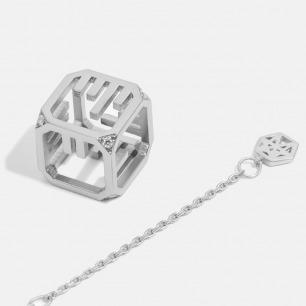 Morse 摩尔斯电码镶白锆石项链