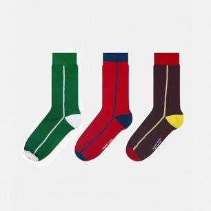 英伦中筒袜单竖条组合A款
