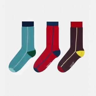 英伦中筒袜单竖条组合B款