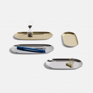 北欧简约金属色托盘 | 椭圆凹面设计 表面闪耀