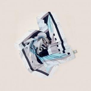 抽象几何图形孟菲斯小方巾   100%真丝 图案优雅复古
