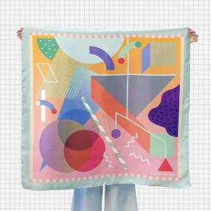 几何撞色真丝方巾 梦境   高级100%真丝 香港制造