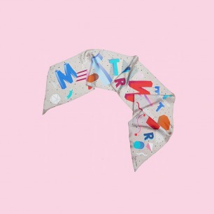 几何字母图形真丝围巾丝巾长巾 幻白