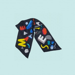 时尚复古字母丝巾 暮黑   高级100%真丝 香港制造