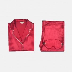 【定制周期:7天】滋润皮肤质感 酒红色真丝睡衣套装