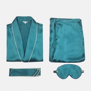 【定制周期:7天】滋润皮肤质感 青果领绑带真丝睡衣套装