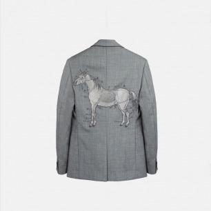 原创silver horse马银线刺绣 羊毛男士西装