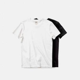 白黑素色打底纯色 休闲文艺 男款蓝标有机棉圆领短袖T恤