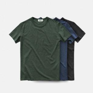 长绒棉素色打底纯色 休闲文艺 男款花纱圆领短袖T恤