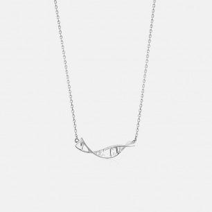 Morse 摩尔斯电码定制DNA锁骨链 白金色 925银
