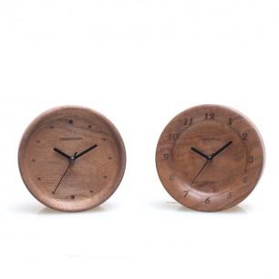 简约复古 黑胡桃窄边时钟闹钟(两款可选)
