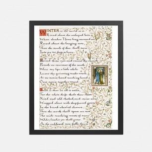 冬天的约会 装饰画   英国诗人手写诗词款