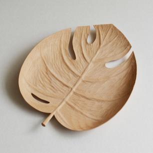 山舍秋山系列蓬莱蕉叶手工木盘 | 手工雕刻自然之美