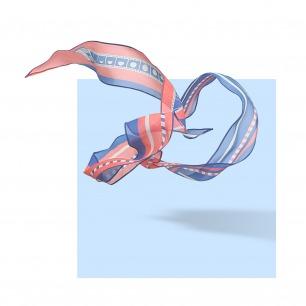 CAPTURE 真丝乔其几何图案细长巾   原创设计师品牌