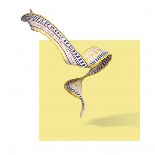 MEASURE 真丝斜纹几何图案小长巾   原创设计师品牌