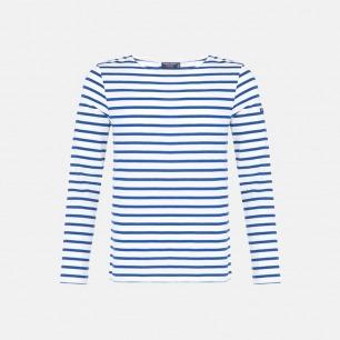 圆领长袖T恤 全白海军蓝条 | 条纹衫鼻祖 男女同款