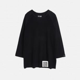 黑色简约七分插肩圆领短袖T恤