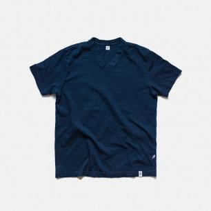 日本原产天然蓝染T恤 | 纯色V领