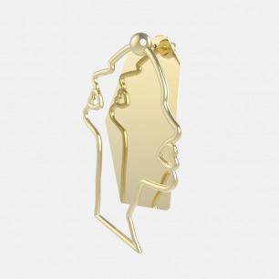 人脸轮廓镜面耳环  | 别致个性 优质铜镀18k金