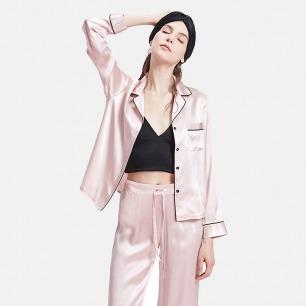 真丝长袖睡衣两件套   爱马仕同厂制作 法式浪漫格调【两色】